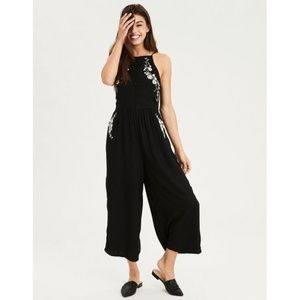 American Eagle Embroidered High Neck Jumpsuit